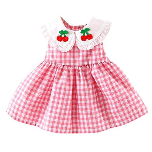 Newborn Kids Baby Girl Dress,Evansamp Doll Collar Plaid Embroideried Cherry Fruit Ruffled Princess Dress Sundress(Rosa,90) -