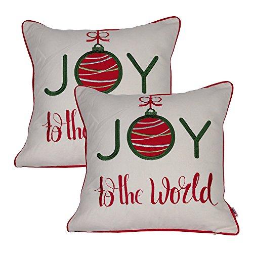Queenie-2PCS Christmas Serie II bestickt Baumwolle/Leinen Dekorative Kissenbezüge Kissenbezug für Sofa Überwurf Kissen Fall Joy To The World
