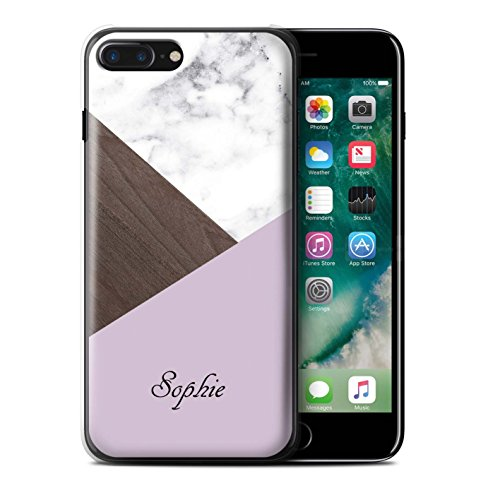 Personalisiert Individuell Holz/Marmor Hülle für Apple iPhone 5/5S / Rosa Dunkles Hölzern Design / Initiale/Name/Text Schutzhülle/Case/Etui Rosa Dunkles Hölzern