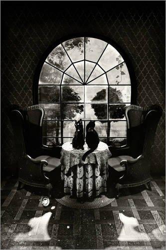 Poster 60 x 90 cm: Room Skull B&W von Ali Gulec - hochwertiger Kunstdruck, neues Kunstposter (Game Over Poster)