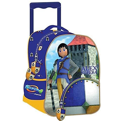 Playmobil - Sac à Dos à roulettes Trolley Maternelle Super 4 Alex 31 CM