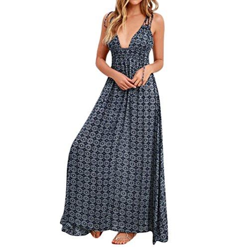 Langes Kleid für Damen, Boho-Druck, trägerfrei, rückenfrei, für Partys, Maxikleid, Axchongery, Plastik, Navy, M Camo-video-kameras