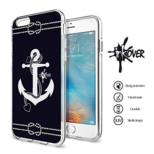 Cover iPhone 7 PLUS - INKOVER - Funda Carcasa Case Bumper Protección Protectora Soft Case Transparente Caso Slim Fit Tpu Gel INKOVER Design OLD SCHOOL The Sailor Mariano Vintage Retrò per APPLE iPhone ANCORA 6