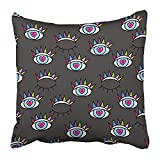 NDJHEH Taies d'oreillers Print The of Psychedelic Eyes Closed and Open for Book Comic Pop Retro Artstyle Abstract for Girls 18 X 18 inch Square Zipper Polyester Home Sofa Decorative Case
