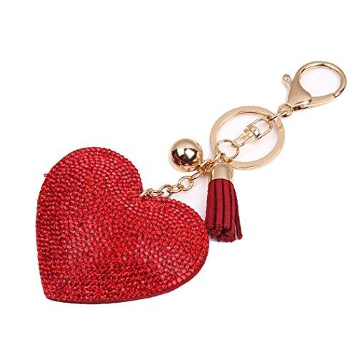 Amlaiworld Amore strass nappa borsa portachiavi ciondolo (Rosso)