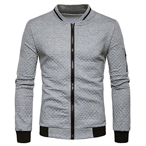 Männer Plaid Strickjacke CLOOM leichte herrenjacken Zipper Sweatshirt Tops Outwear Sport herrenoberbekleidung Herbst übergangsjacke jung herren mantel slim fit business windbreaker (L, Grau)