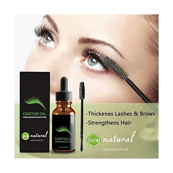 Hilai 1pc Sérum de crecimiento de pestañas 100% puro aceite de ricino estimule el crecimiento para el pelo, pestañas…