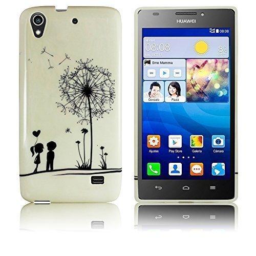 Huawei Ascend G620s Silikon Schutz-Hülle Pusteblume weiche Tasche Cover Case Bumper Etui Flip smartphone handy backcover thematys®