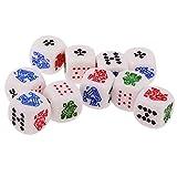 Sharplace 10 Pezzi / Set Dadi A sei Facce in 12 Millimetri per Poker Dice per Gioco di Dadi Partito Viaggi Accessori