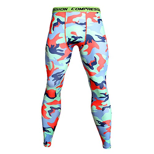 Celucke Sport Leggings Herren Laufhose Strumpfhose Compression Tights Camouflage Funktionswäsche Quick Dry Kompression Hose für Fitness Gym Joggen -