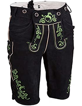 Herren Spieth & Wensky Lederhose kurz schwarz grün 'Nikolaus', schwarz-gruen,