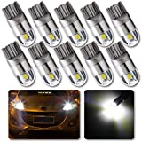 GLL 10pcs White T10 501 LED Bulb 2-SMD 3030 W5W 194 168 2825 Wedge T10 Light Car Interior Dashboard Bulb Sidelight Boot Lights Number Plate Bulb (DC 12V)