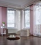 Gardinenking Sylt Fensterbehang Viora fertig genäht mit Zierstange Schiebegardine Flächengardine Schiebevorhang Flächenvorhang Stickerei (120 cm hoch / 60 cm breit/Lange Seite Links, Creme)