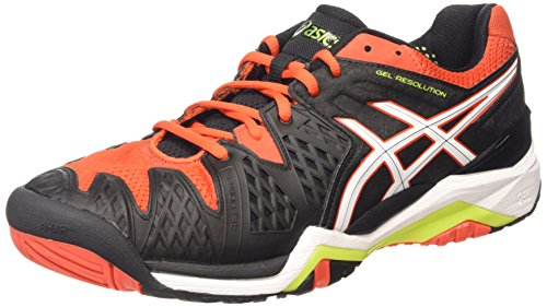 ASICS Gel-resolution 6, Herren Tennisschuhe, Schwarz (black/white/orange 9001), 42 EU