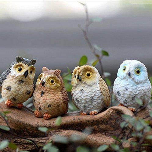urgrace 12pcs Cute Búhos animales resina figuras en miniatura figura decorativa Craft Bonsai macetas casa adorno de jardín de hadas decoración