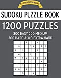 Sudoku Puzzle Book, 1,200 Puzzles - 300 Easy, 300 Medium, 300 Hard and 300 Extra Hard: Improve Your Game With This Four Level Book: Volume 40 (Sudoku Puzzle Books)