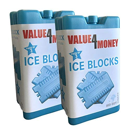 Pack of 3/6 - Freezer Blocks - Use With a Cool Bag For Added Cooling - Cools & Keeps Food Fresh (Pack of 6) -
