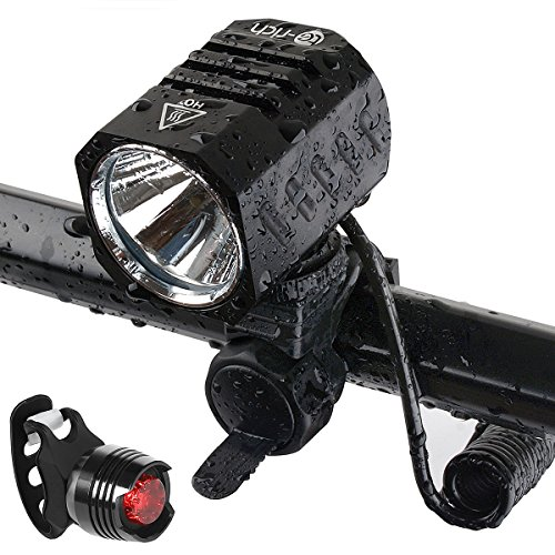 【Upgrade Version】LED Fahrradlampe aufladbar USB LED Scheinwerfer wasserdicht CREE XM-L2 Frontlicht 1200 Lumen 4 Licht-Modi Fahrradlicht mit Akku 4400mAh und RÜCKLICHT mit Knopfzellen