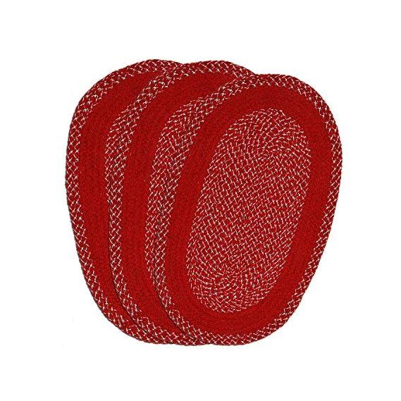 Kuber Industries Oval Design Soft Cotton Blend Anti Slip 3 Pieces Door Mat 18x26(Maroon) CTKTC33729