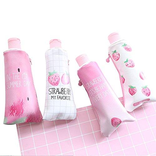 Spaufu matita della penna novità borsa Kawaii frutta modello portapenne con temperamatite cancelleria accessori cosmetici organizzatore trucco borsa per donne ragazze