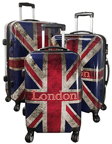 set di tre valigie bagaglio trolley policarbonato rigido leggero 4 ruote 360° con motivo PM (Union Jack)