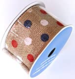 "Red, White, and Blue Polka Dot Burlap Ribbon Spool - 2.5"" x 15' by Wal-Mart Stores, Inc"