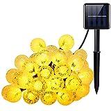 Amir Solar-Lichterkette mit Kristall-Kugeln (8Modi, 30Kugeln), für drinnen und draußen, wasserdicht, für Garten, Terrasse, Partys, Hochzeiten, Wohnzimmer, Schlafzimmer