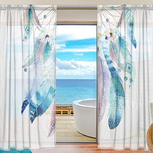 XiangHeFu Cortina de Tul, Colorida decoración de Plumas, diseño de atrapasueños, Cortinas de Gasa para Dormitorio, 55 x 78 cm, 2 Paneles, poliéster, Image 599, 55x78x2(in)