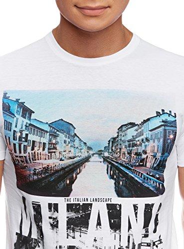 oodji Ultra Herren T-Shirt mit City-Print Weiß (1075P)