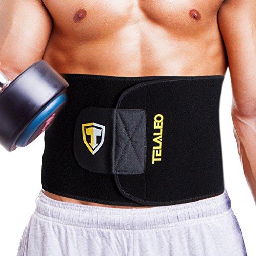 #TELALEO Fitnessgürtel Bauch für Männer und Frauen, Schlankheits Gürtel, Verstellbarer Taillen Trimmer Gürtel Schwarz/ Gelb#