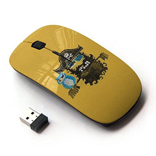 [Peculiar-Star] Colorato stampato ultrasottile ottico senza fili 2.4Ghz mouse-Black [Compagni Pirate & Owl Mare]
