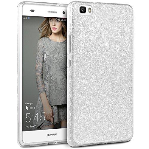 Coque Huawei P8 Lite Paillette Rose, TheBlingZ.® Housse Etui Protection Brillante Paillette Case pour Huawei P8 Lite - Rose Argent