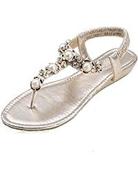 Wenyujh Damen Mädchen Sandalen Sommer Schuhe Eule Strass Sandalen mit T-Spangen Knöchelriemen Flip Flop (Asien 40, Schwarz)