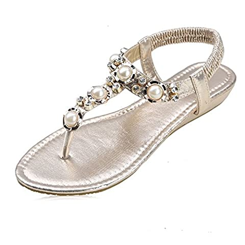 Women's Round Peep Clip Toe Pearl Bead Elastic T-Strap Bohemia Roman Sandals Summer Beach Post Sandals Flip Flops Flat Shoes