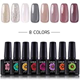 Coscelia 8pc UV Nagellack Farbgele Set Nailart Gellacken Nageldesign Nagelgel UV Gel Polish Nagelgel Lack Kit