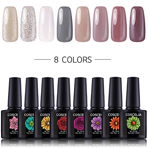 Coscelia 8pc UV Nagellack Farbgele Set Nailart Gellacken Nageldesign Nagelgel UV Gel Polish Nagelgel Lack Kit -