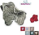 BabyMatex ** Einschlagdecke KOALA Soft 95x95cm ** Universal für Babyschale, Autositz, z.B. für Maxi-Cosi, Römer, für Kinderwagen, Buggy oder Babybett (Rot)