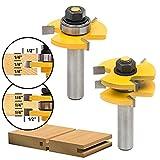 SROL 2 teilig Groove und Tongue Router Bit Oberfräser 1/2 ' Shank Holzbearbeitung Fräsen Holzschneider Werkzeug für Graviermaschine Trimmmaschine