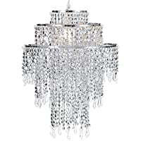 Waneway Large 3 Tiers Chrome Sparkling Beads Pendant Shade, Ceiling Chandelier Lampshade with Acrylic Jewel Droplets, Beaded Lampshade with Chrome Frame and Sparkling Beads, Diameter 12.6 inches, Chrome