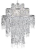 WanEway Großer 3 Stufiger Chrome Glitzernder Perlen Lampenschirm, Decken Kronleuchter Lampenschirm mit Acryl Juwelen Tropfen, Perlen Lampenschirm mit Chrom Rahmen und glitzernden Perlen, Durchmesser 32cm, Chrom