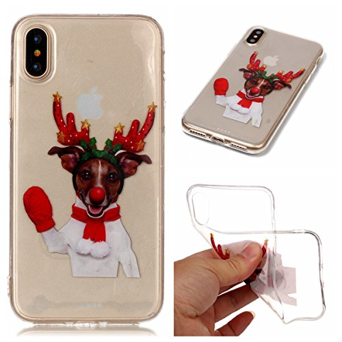 Christmas Hülle iPhone X LifeePro Weihnachts Cover Ultra dünn Weiches Transparent TPU Gel Silikon Handy Tasche Bumper Case Anti-Scratch Back Cover Full Body Schutzhülle für iPhone X Branch Elk Red Gloves Elk