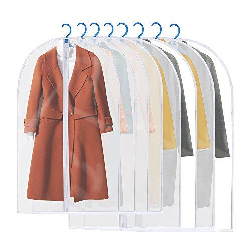 8st. transparente Kleiderschutzhülle Abdeckung 100/120 cm waschbar Wasserdicht Staubschutz Schutz für Hemd Kostüm Tasche von Kleidung mit Zip
