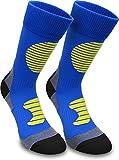 2 Paar Multifunktionale Sportsocken mit Schienbein- & Fußrückenpolster Farbe Blau