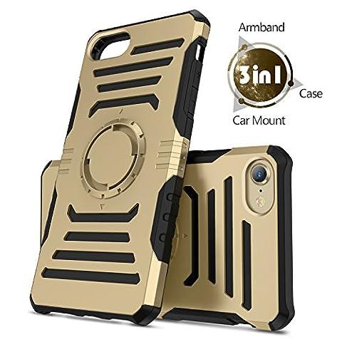 iPhone 8 Magnetisch Hülle , iPhone 7/6s/6 Hülle,Humixx Handy Hülle /Metallplatte/Armbinde3 in 1 Multifunktionale Laufen Armbinde Schwerlast Hülle mit Magnetisch Mount Unterstützt für iPhone 8 & iPhone 7/6s/6--Gold