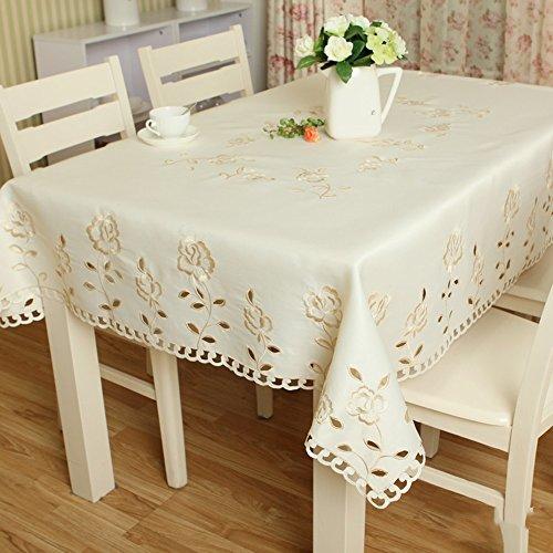 Imperméable nappe Nappe à la broderie de mode Nappe pastorale simple Tissu table table basse (taille facultative) (rose jaune) pour dîner ( taille : 60*60cm )