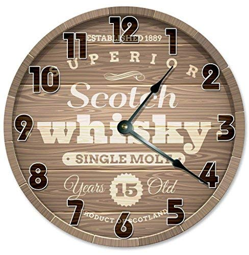 HSSS Vintage Superior Scoth Whiskey Barrel Design Uhr Dekorative Runde Holz-Wanduhr - 30,5 cm