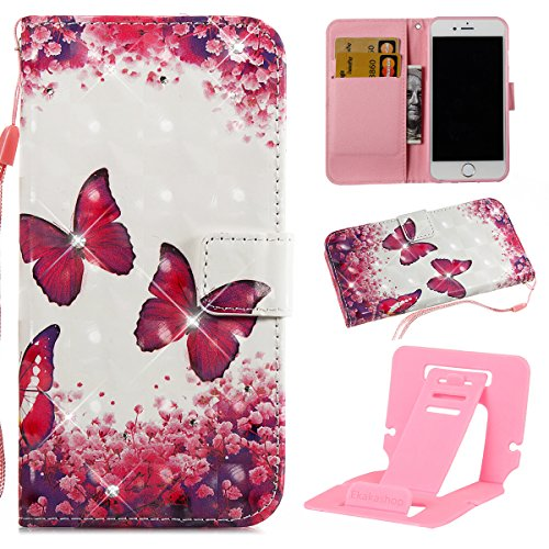 iPhone 6S Custodia Pelle, Cover per iPhone 6 Portafoglio, Ekakashop Diamante Strass Glitter Sparkle Blingbling Fashion Colorata 3D Painted Ragazza Fantasia Lusso Libro Wallet PU Leather Morbido Silico Farfalle