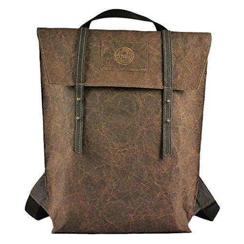 bun-di Swiss - SHOPPER-BACKPACK STACY | Vintage Handtasche Rucksack 2 in 1 | Damen Umhängetasche mit Rucksackfunktion aus Waschbarem Papyr mit Lederoptik – 26x38x8cm