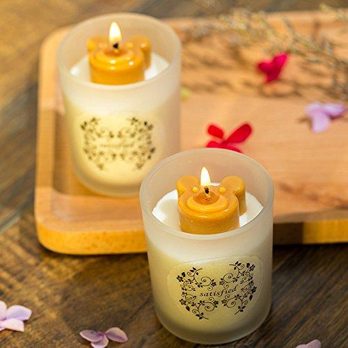 YYHMHMH Pflanzliches Ätherisches Öl Natürliches Sojabohnenöl-Kerze Kreativer Bär Glas Duftende Frische Geständnis Der Kerze-Raumluft 110G Englische Süße Birne Und Wohlriechender Schnee -