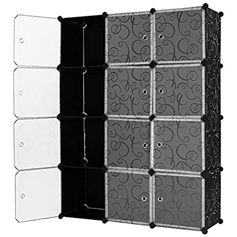 LANGRIA Interlocking Plastic Wardrobe Cabinet Opaque Curly Patterned Design 12-Cube